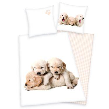 Flanell-Bettwäsche Hundewelpen