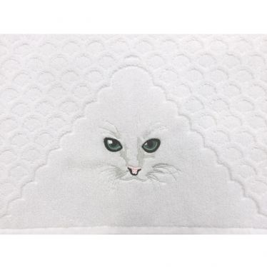 Gästetuch Detail Katzenstickerei